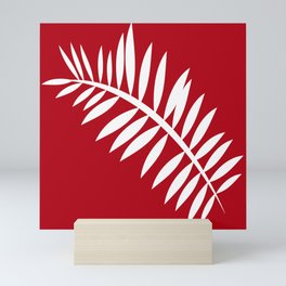 PALM LEAF RED AND WHITE PATTERN Mini Art Print