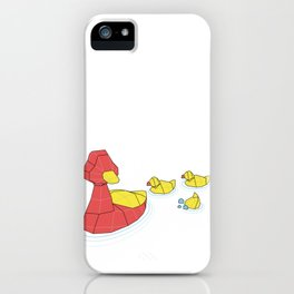 Mother Goose and her Ducklings going out for a swim iPhone Case