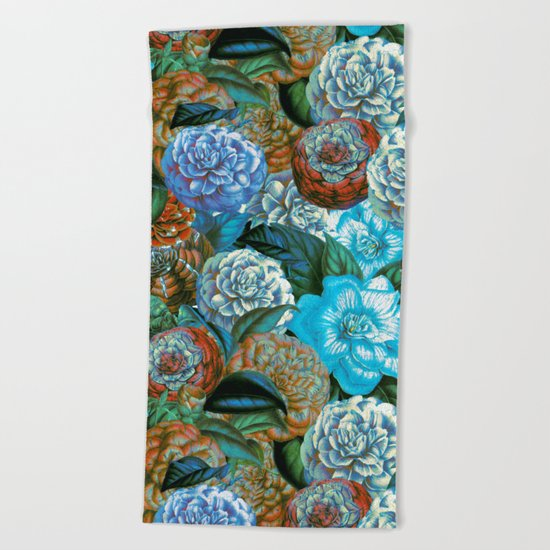Vintage & Shabby - blue floral camellia flowers watercolor pattern Beach Towel