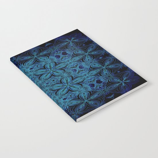 Turquoise Teal Delicate Flowers Notebook