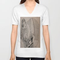 oscar wilde V-neck T-shirts featuring Oscar Wilde Author Portrait by Wicked Ink