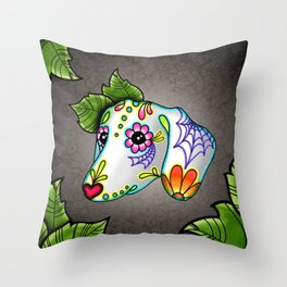 Dachshund - Day of the Dead Sugar Skull Wiener Dog Throw Pillow