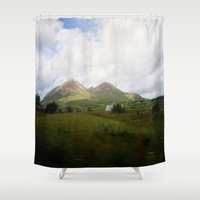 scotland Shower Curtains featuring Somewhere in Scotland by Jane Lacey Smith