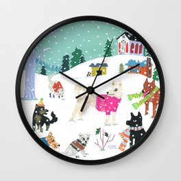 Winter Jindos Wall Clock
