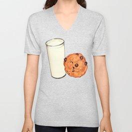 Milk & Cookies Pattern - Red Unisex V-Neck