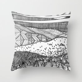 Cabin on the Hill Throw Pillow