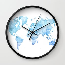 Light blue watercolor world map Wall Clock