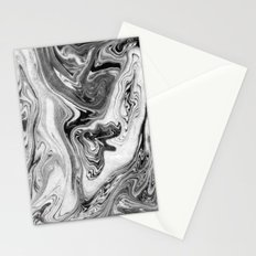Mizuki - spilled ink marbling paper marble swirl abstract painting original art india ink minimal Stationery Cards