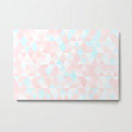 Pastel Millennial Pink Teal Triangle Ombre Geometric Cute Pattern Metal Print