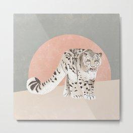 Snow Leopard Pink Grey Metal Print
