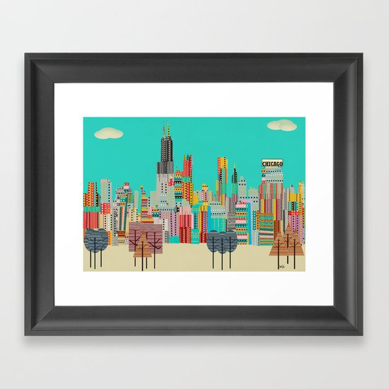 Chicago city (summer days) Framed Art Print