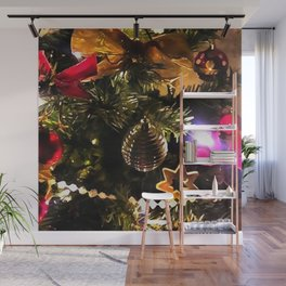 Bows Stars and Baubles Decorated Tree Wall Mural