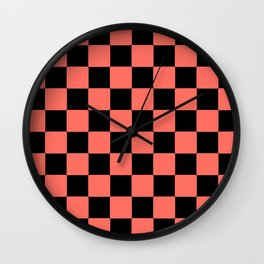 LIVING CORAL WITH BLACK CHECKS PATTERN Wall Clock