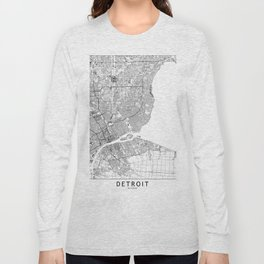 Detroit White Map Long Sleeve T-shirt