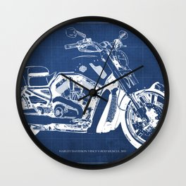 Blue motorcycle blueprint, HD VRSCF V-Rod Muscle,white line,home decor,man office, man cave decor Wall Clock