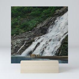 Alaskan Massive Waterfalls And Small Canoe With Hikers Mini Art Print