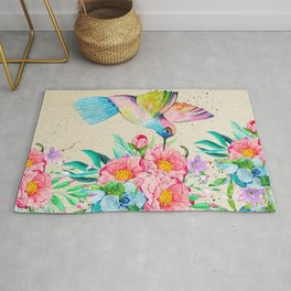 Whimsical watercolor hummingbird and  floral hand paint Rug