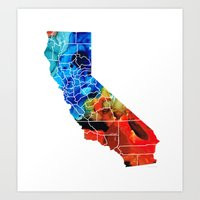 49ers Art Prints featuring California - Map Counties by Sharon Cummings by Sharon Cummings