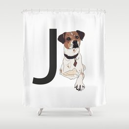 J is for Jack Russell Terrier Shower Curtain