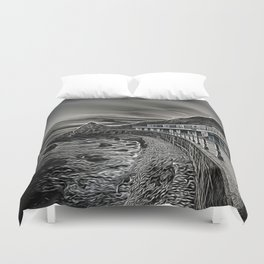Meadfoot Beach Huts - Digital Duvet Cover