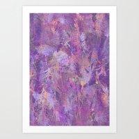 Purple feathers Art Print