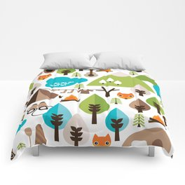 Wild camping trip with fox and wild animals illustration Comforters
