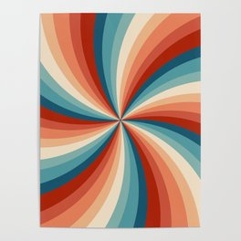 Colorful retro style sun rays Poster