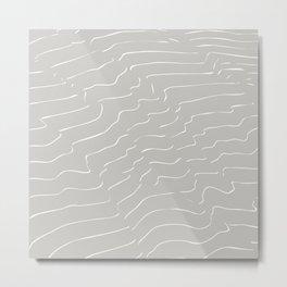 Grey Mountain Contour Lines Metal Print