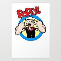 popeye Art Prints featuring Popeye by idaspark