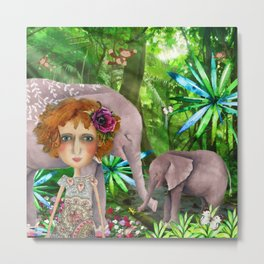 Jungle of happiness watercolour Metal Print