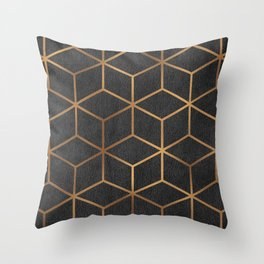 Charcoal and Gold - Geometric Textured Cube Design I Throw Pillow
