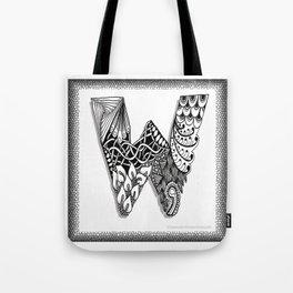 Zentangle W Monogram Alphabet Initials Tote Bag