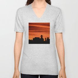 Blood Orange Sunset Over Small Desert Town Unisex V-Neck