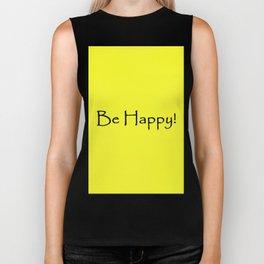 Be Happy - Black and Yellow Design Biker Tank