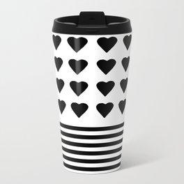 Heart Stripes Black on White Metal Travel Mug