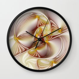Decor with Gold, Abstract Fractal Art Wall Clock