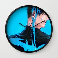 nightwing Wall Clocks featuring Color serial 01 by Hai-ning