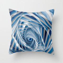 Blue Rose Spiral Throw Pillow