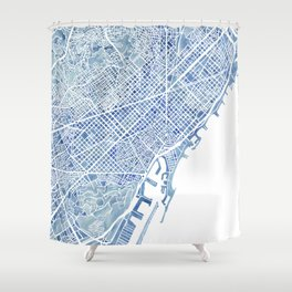 Barcelona Blueprint Watercolor City Map Shower Curtain