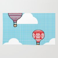 hot air balloons Area & Throw Rugs featuring Cozy Hot Air Balloons by The Wellington Boot