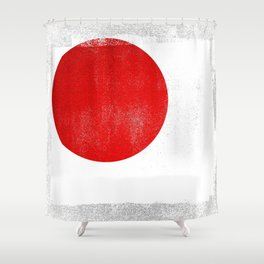 Japanese Distressed Halftone Denim Flag Shower Curtain