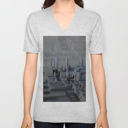 Urban technology buildings space aerial view Unisex V-Neck