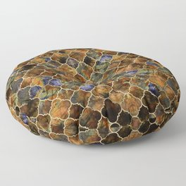 Quatrefoil Moroccan Pattern Brown Labradorite Floor Pillow