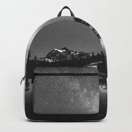 Summer Stars Black and White - Galaxy Mountain Reflection Backpack