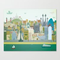 barcelona Canvas Prints featuring Barcelona by LaPendeja