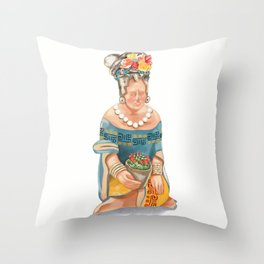 Mesoamerican Seated Woman Throw Pillow