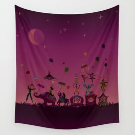colorful circus carnival traveling in one row at night Wall Tapestry