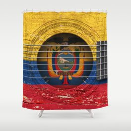 Old Vintage Acoustic Guitar with Ecuadorian Flag Shower Curtain