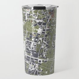 Warsaw city map engraving Travel Mug