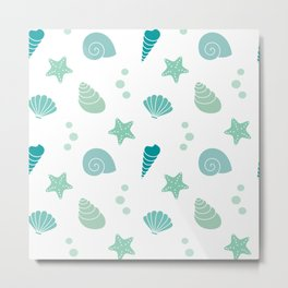 cute summer exotic pattern background illustration with seashells Metal Print